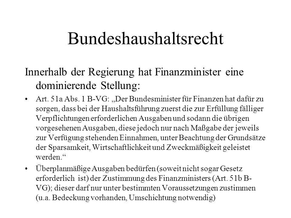 Bundeshaushaltsrecht Innerhalb der Regierung hat Finanzminister eine dominierende Stellung: Art. 51a Abs. 1 B-VG: Der Bundesminister für Finanzen hat