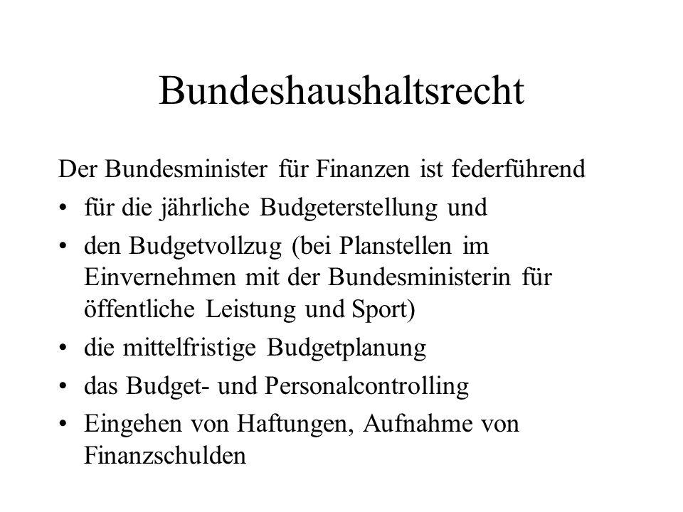 Bundeshaushaltsrecht Der Bundesminister für Finanzen ist federführend für die jährliche Budgeterstellung und den Budgetvollzug (bei Planstellen im Ein