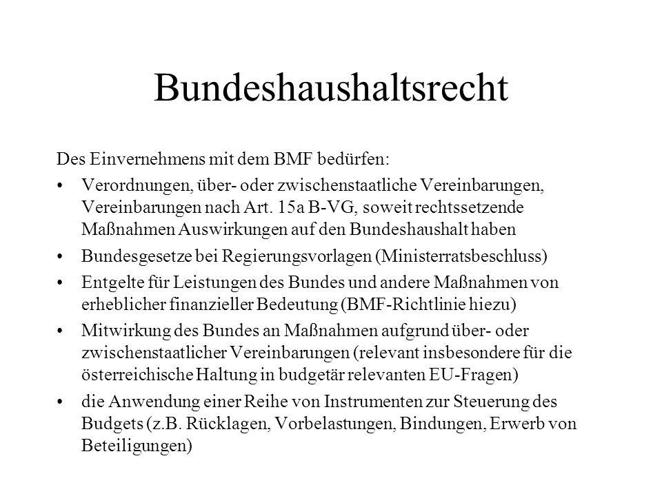 Bundeshaushaltsrecht Des Einvernehmens mit dem BMF bedürfen: Verordnungen, über- oder zwischenstaatliche Vereinbarungen, Vereinbarungen nach Art. 15a