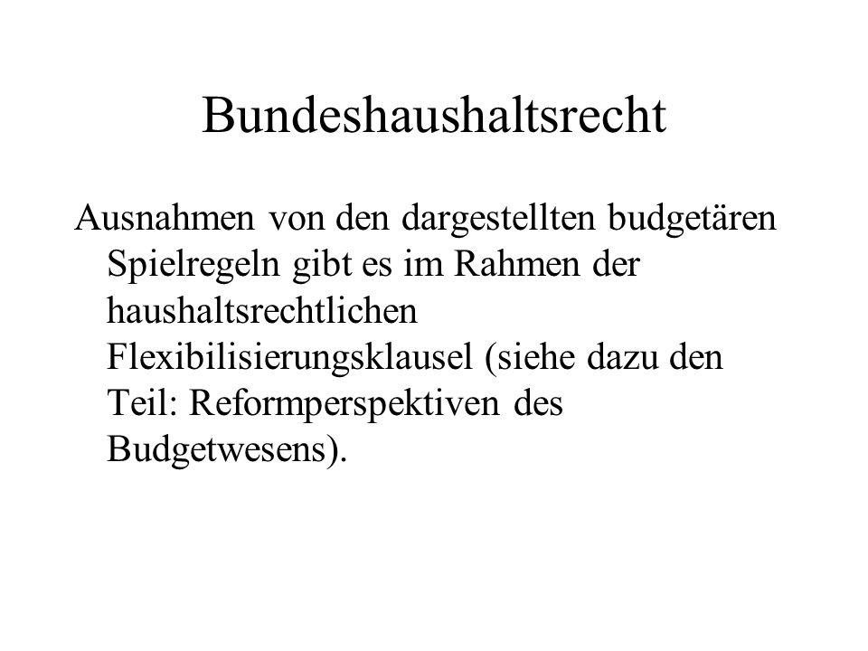 Bundeshaushaltsrecht Ausnahmen von den dargestellten budgetären Spielregeln gibt es im Rahmen der haushaltsrechtlichen Flexibilisierungsklausel (siehe