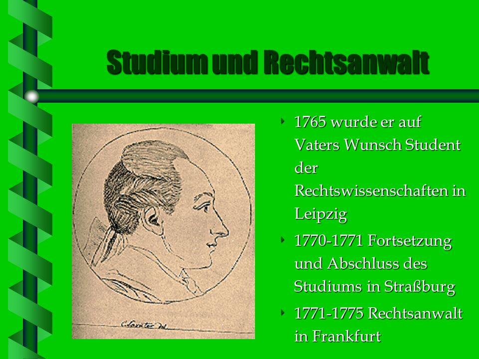Kindheit und Jugend Von Von seinen Eltern schrieb Goethe: Vom Vater hab ich die Statur, des Lebens ernstes Führen, vom Mütterchen die Frohnatur und Lu