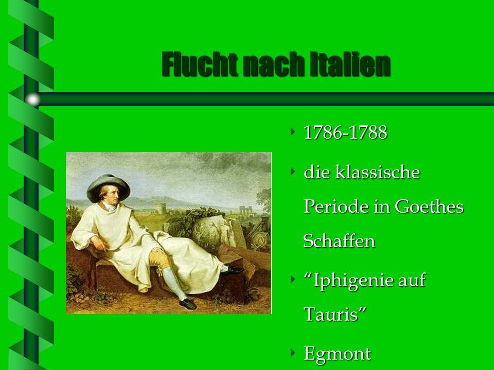 Das erste Weimarer Jahrzehnt 1775 1775 Ankunft in Weimar (er ging nach Weimar als Gast, ist aber fürs ganze Leben geblieben) eine eine Periode aktiver