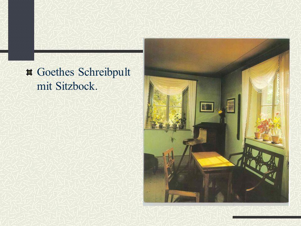 Goethes Gartenhaus Um Goethe an die Stadt zu binden, schenkte der Herzog Carl August ihm dieses Gartenhaus. Hier hat Goethe jahrelang gelebt und gearb