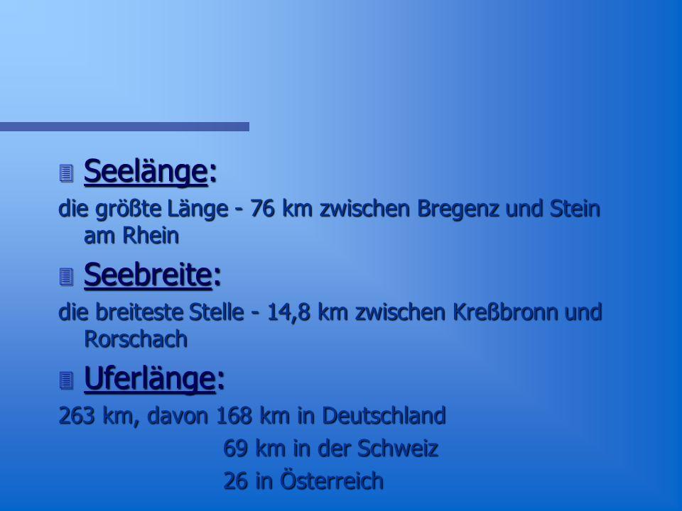 Bodensee in Zahlen 3 Zuflüsse: in den Bodensee fließen 236 Bäche und Flüsse 3 3 große Insel: Gemüseinsel Reichenau Blumeninsel Mainau Stadt Lindau 3 Seetiefe: tiefste Stelle 254 m.
