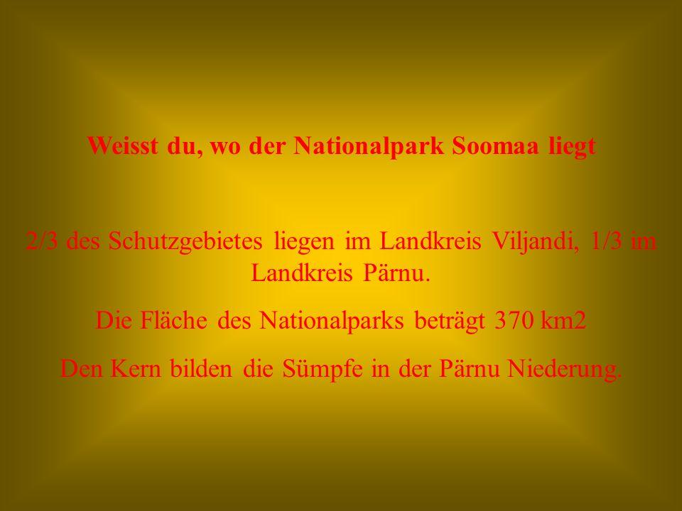 Weisst du, wo der Nationalpark Soomaa liegt 2/3 des Schutzgebietes liegen im Landkreis Viljandi, 1/3 im Landkreis Pärnu.