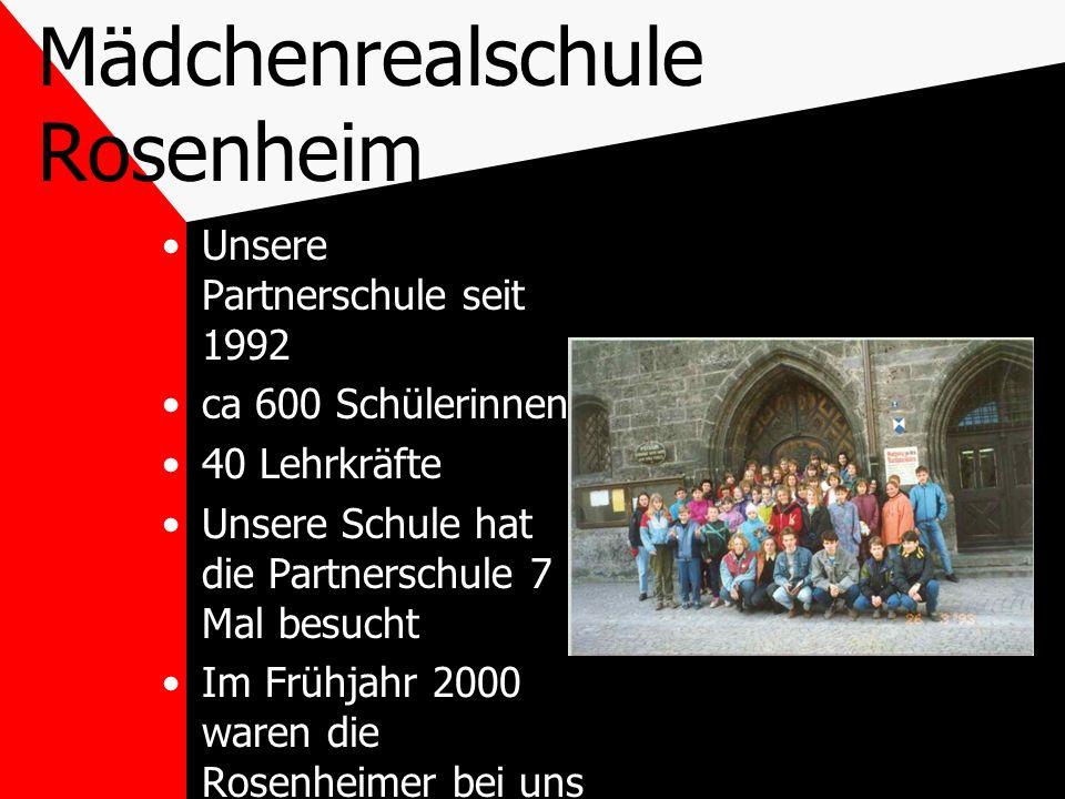 Mädchenrealschule Rosenheim Unsere Partnerschule seit 1992 ca 600 Schülerinnen 40 Lehrkräfte Unsere Schule hat die Partnerschule 7 Mal besucht Im Früh