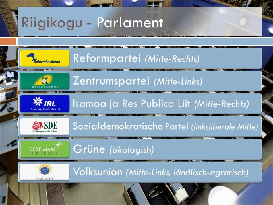 Riigikogu - Parlament Reformpartei (Mitte-Rechts) Zentrumspartei (Mitte-Links) Isamaa ja Res Publica Liit (Mitte-Rechts) Sozialdemokratische Partei (l