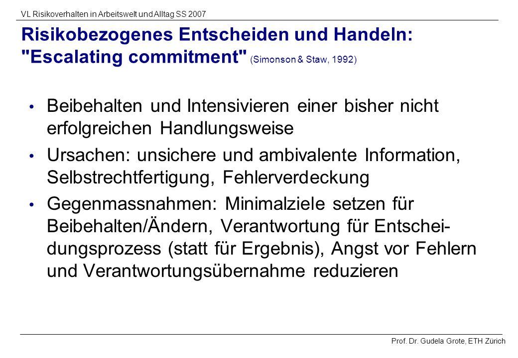 Prof. Dr. Gudela Grote, ETH Zürich VL Risikoverhalten in Arbeitswelt und Alltag SS 2007 Risikobezogenes Entscheiden und Handeln: