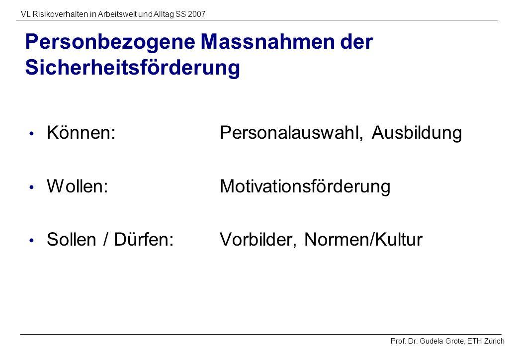 Prof. Dr. Gudela Grote, ETH Zürich VL Risikoverhalten in Arbeitswelt und Alltag SS 2007 Personbezogene Massnahmen der Sicherheitsförderung Können:Pers