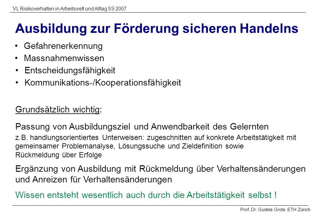 Prof. Dr. Gudela Grote, ETH Zürich VL Risikoverhalten in Arbeitswelt und Alltag SS 2007 Gefahrenerkennung Ausbildung zur Förderung sicheren Handelns W