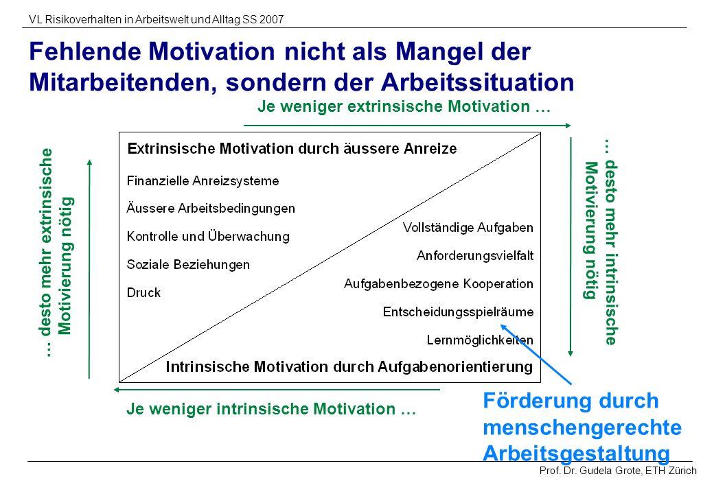Prof. Dr. Gudela Grote, ETH Zürich VL Risikoverhalten in Arbeitswelt und Alltag SS 2007 Fehlende Motivation nicht als Mangel der Mitarbeitenden, sonde