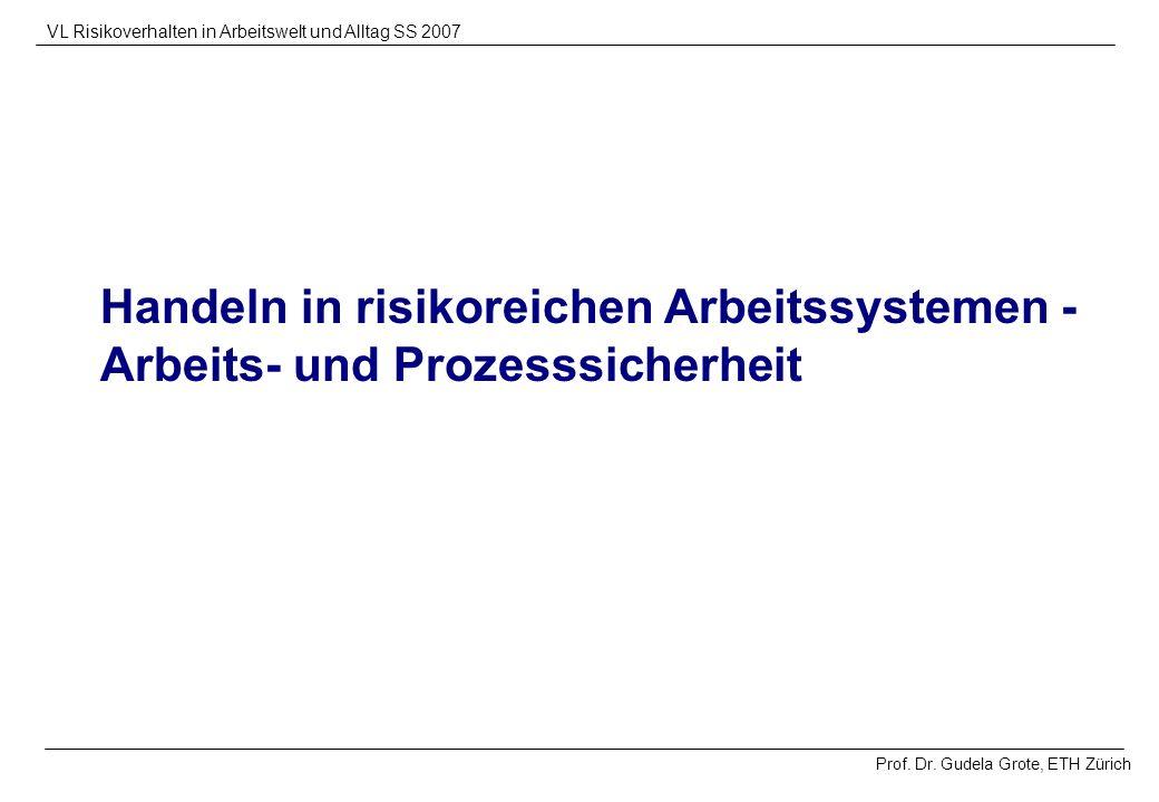 Prof. Dr. Gudela Grote, ETH Zürich VL Risikoverhalten in Arbeitswelt und Alltag SS 2007 Handeln in risikoreichen Arbeitssystemen - Arbeits- und Prozes