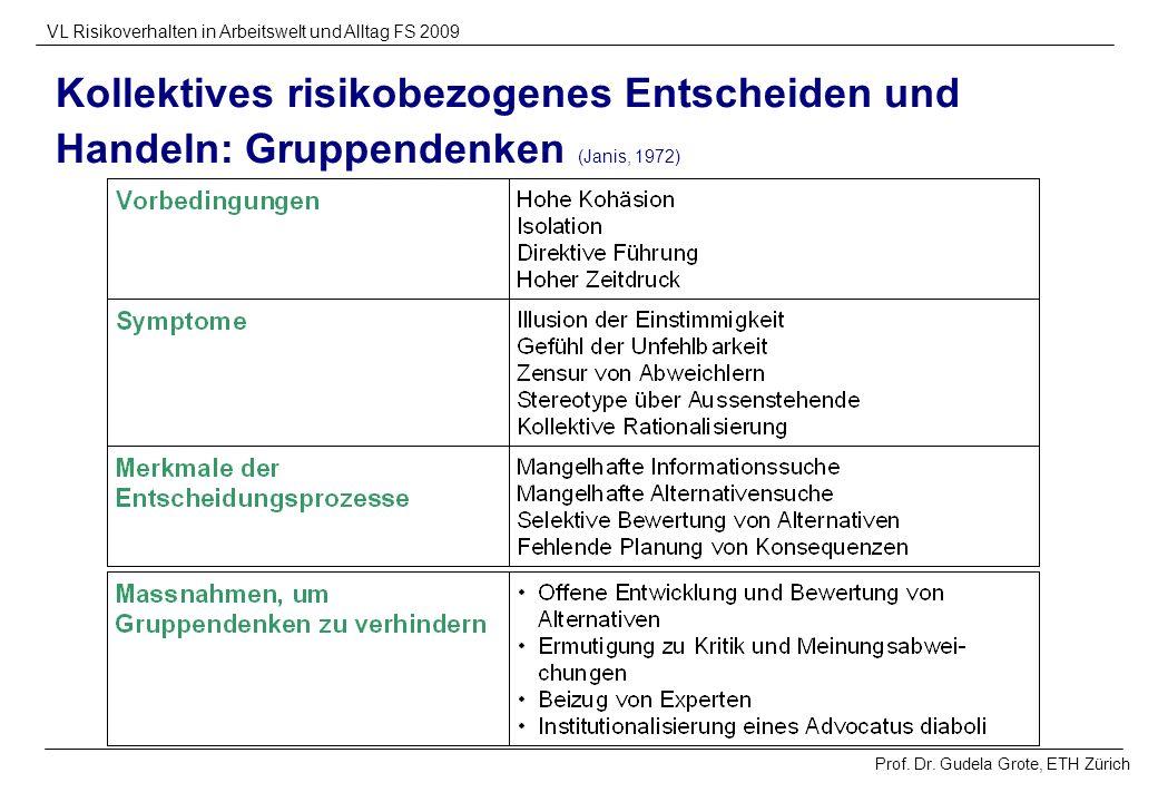 Prof. Dr. Gudela Grote, ETH Zürich VL Risikoverhalten in Arbeitswelt und Alltag FS 2009 Kollektives risikobezogenes Entscheiden und Handeln: Gruppende