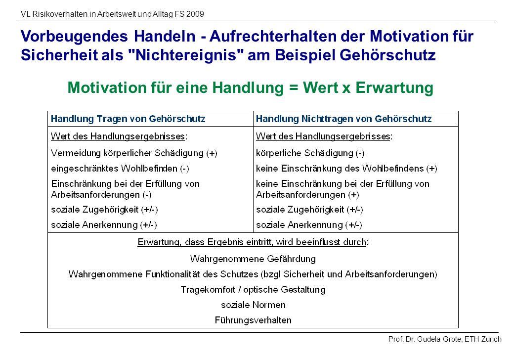 Prof. Dr. Gudela Grote, ETH Zürich VL Risikoverhalten in Arbeitswelt und Alltag FS 2009 Vorbeugendes Handeln - Aufrechterhalten der Motivation für Sic