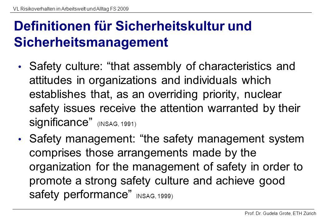 Prof. Dr. Gudela Grote, ETH Zürich VL Risikoverhalten in Arbeitswelt und Alltag FS 2009 Definitionen für Sicherheitskultur und Sicherheitsmanagement S