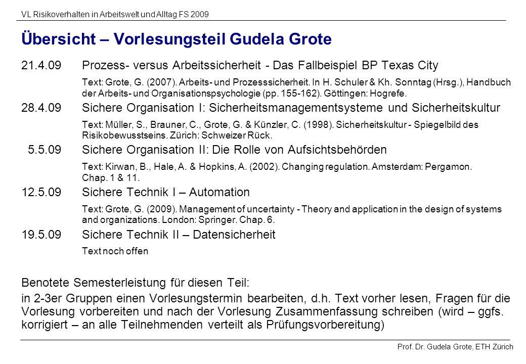 Prof. Dr. Gudela Grote, ETH Zürich VL Risikoverhalten in Arbeitswelt und Alltag FS 2009 Übersicht – Vorlesungsteil Gudela Grote 21.4.09Prozess- versus