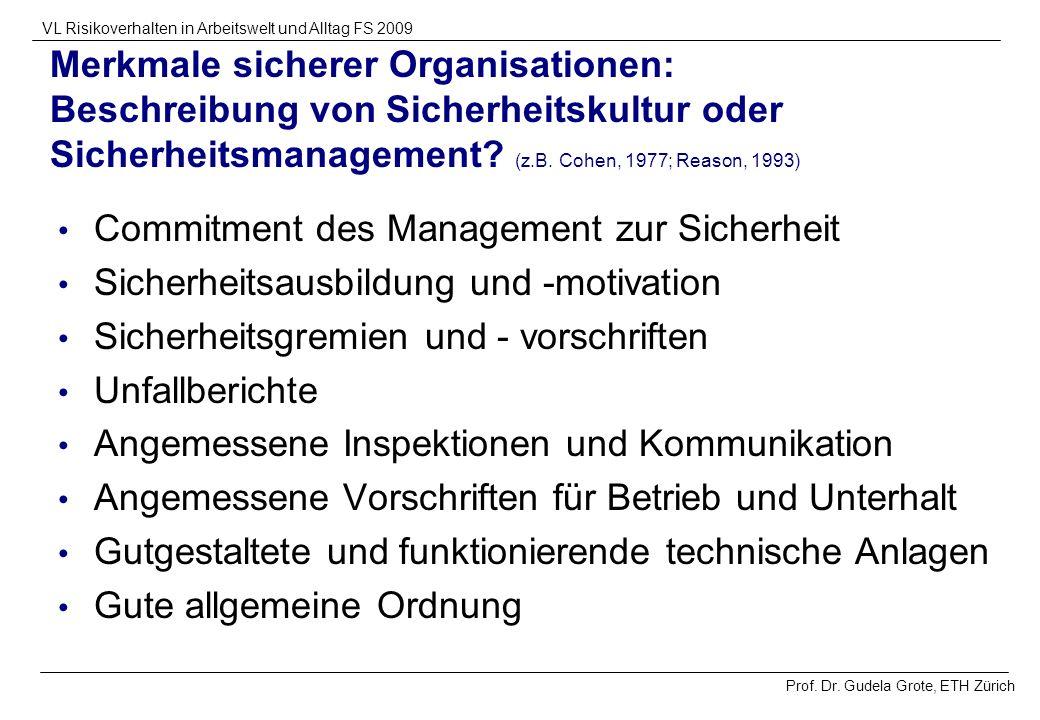 Prof. Dr. Gudela Grote, ETH Zürich VL Risikoverhalten in Arbeitswelt und Alltag FS 2009 Merkmale sicherer Organisationen: Beschreibung von Sicherheits