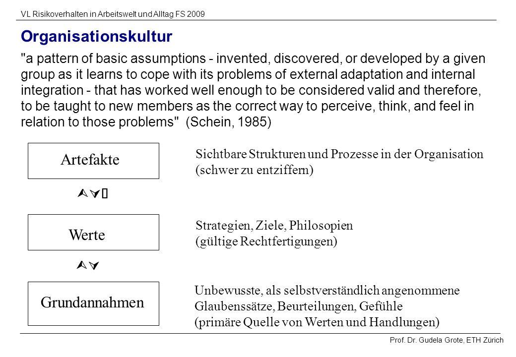 Prof. Dr. Gudela Grote, ETH Zürich VL Risikoverhalten in Arbeitswelt und Alltag FS 2009 Organisationskultur