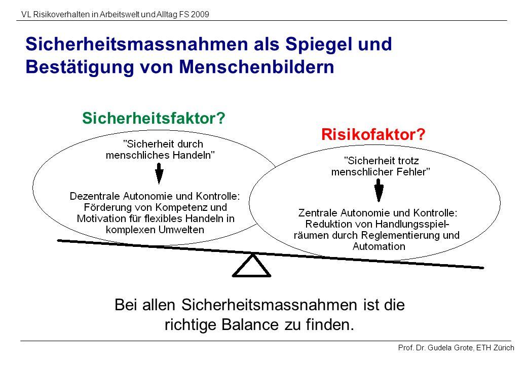 Prof. Dr. Gudela Grote, ETH Zürich VL Risikoverhalten in Arbeitswelt und Alltag FS 2009 Sicherheitsfaktor? Risikofaktor? Sicherheitsmassnahmen als Spi