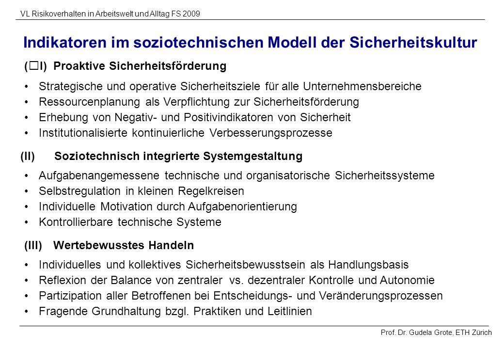 Prof. Dr. Gudela Grote, ETH Zürich VL Risikoverhalten in Arbeitswelt und Alltag FS 2009 Indikatoren im soziotechnischen Modell der Sicherheitskultur I