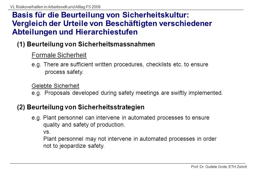 Prof. Dr. Gudela Grote, ETH Zürich VL Risikoverhalten in Arbeitswelt und Alltag FS 2009 Basis für die Beurteilung von Sicherheitskultur: Vergleich der