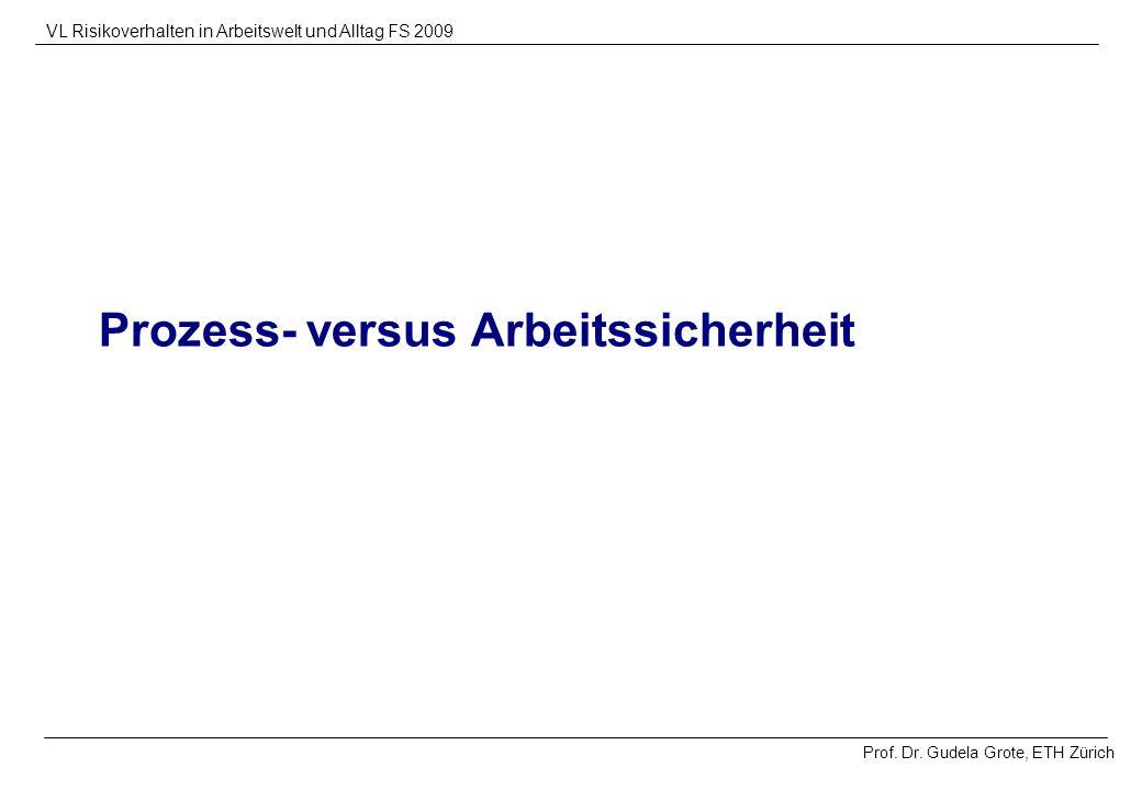 Prof. Dr. Gudela Grote, ETH Zürich VL Risikoverhalten in Arbeitswelt und Alltag FS 2009 Prozess- versus Arbeitssicherheit