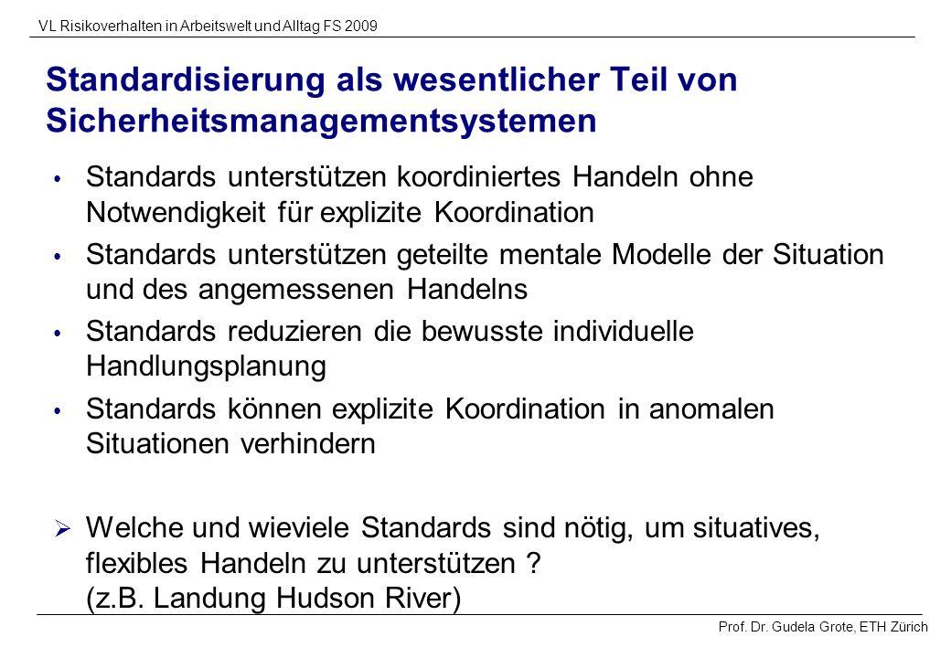 Prof. Dr. Gudela Grote, ETH Zürich VL Risikoverhalten in Arbeitswelt und Alltag FS 2009 Standardisierung als wesentlicher Teil von Sicherheitsmanageme
