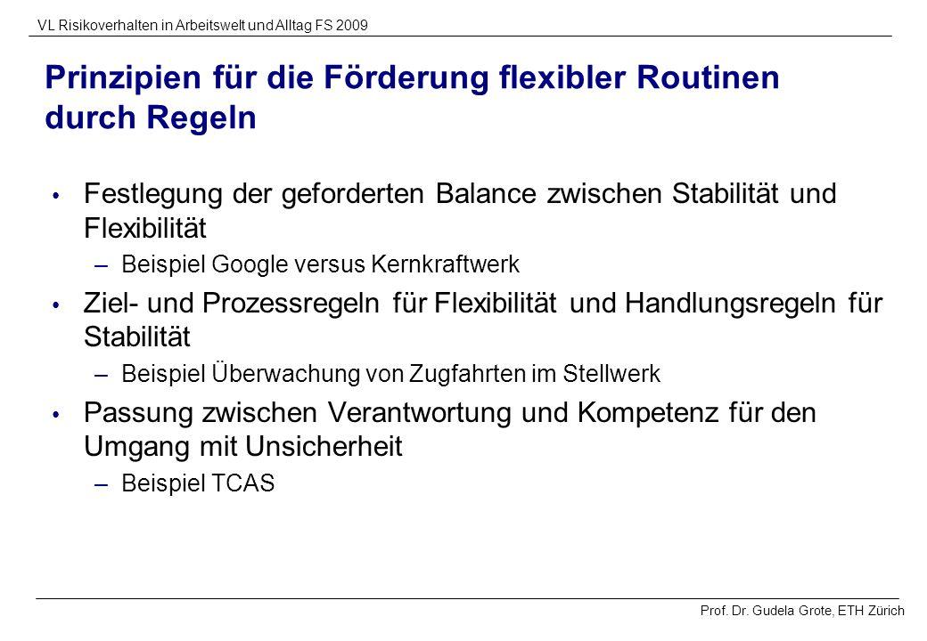 Prof. Dr. Gudela Grote, ETH Zürich VL Risikoverhalten in Arbeitswelt und Alltag FS 2009 Prinzipien für die Förderung flexibler Routinen durch Regeln F