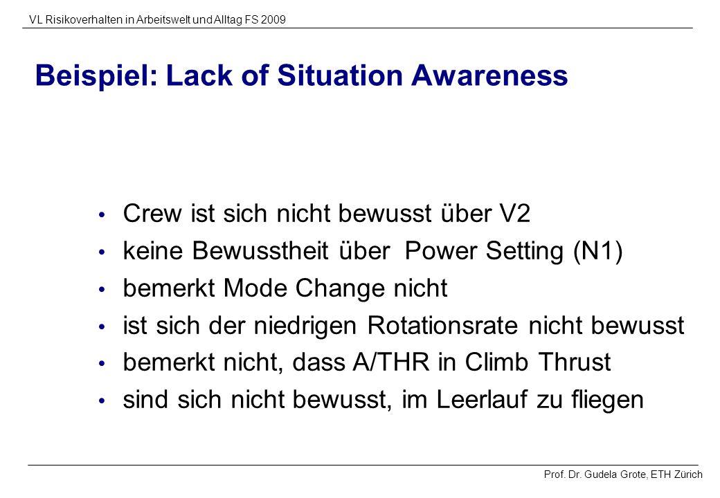 Prof. Dr. Gudela Grote, ETH Zürich VL Risikoverhalten in Arbeitswelt und Alltag FS 2009 Beispiel: Lack of Situation Awareness Crew ist sich nicht bewu