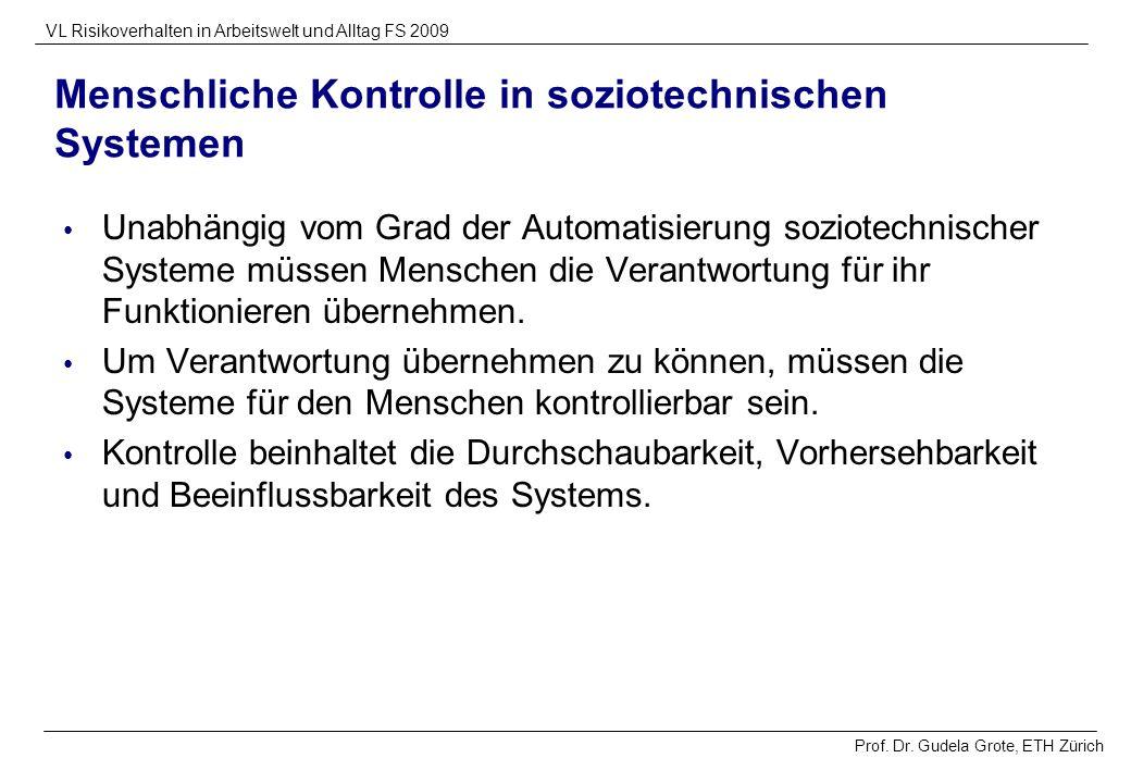 Prof. Dr. Gudela Grote, ETH Zürich VL Risikoverhalten in Arbeitswelt und Alltag FS 2009 Menschliche Kontrolle in soziotechnischen Systemen Unabhängig