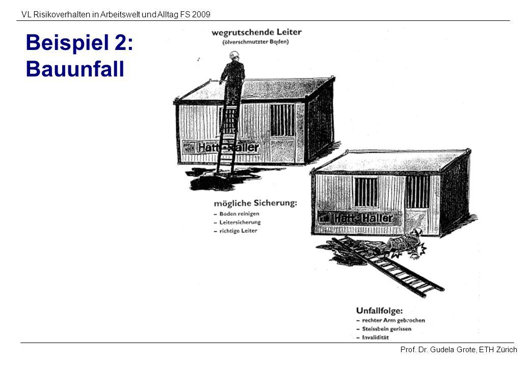 Prof. Dr. Gudela Grote, ETH Zürich VL Risikoverhalten in Arbeitswelt und Alltag FS 2009 Beispiel 2: Bauunfall