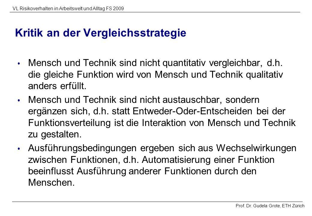 Prof. Dr. Gudela Grote, ETH Zürich VL Risikoverhalten in Arbeitswelt und Alltag FS 2009 Kritik an der Vergleichsstrategie Mensch und Technik sind nich