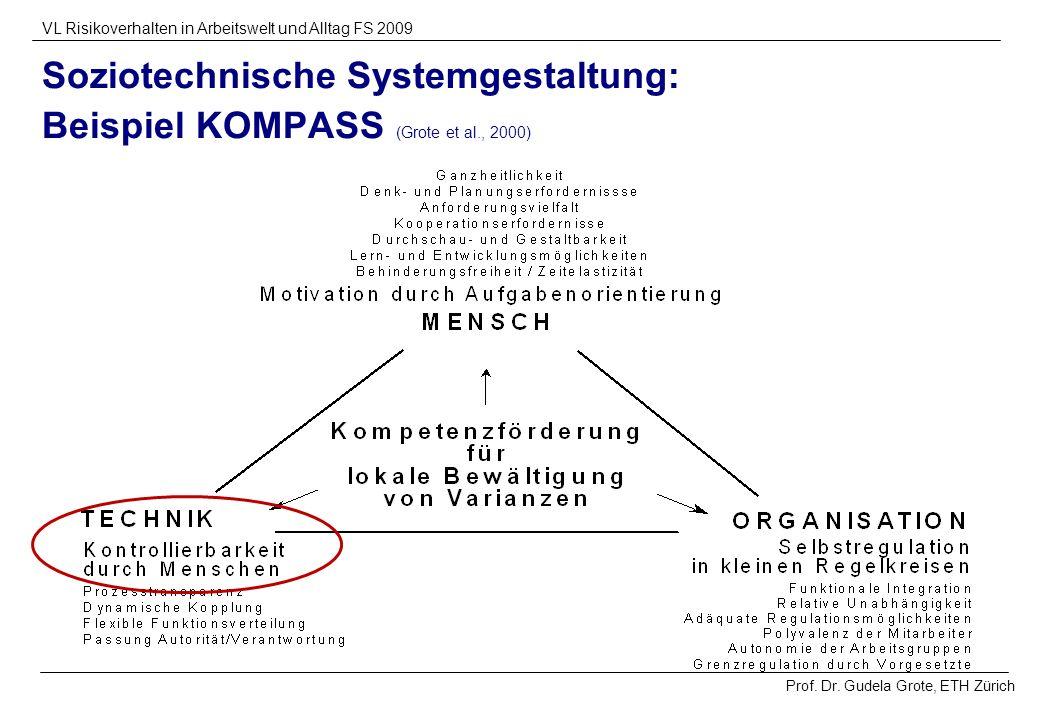 Prof. Dr. Gudela Grote, ETH Zürich VL Risikoverhalten in Arbeitswelt und Alltag FS 2009 Soziotechnische Systemgestaltung: Beispiel KOMPASS (Grote et a