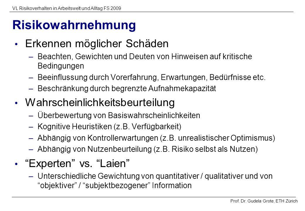 Prof. Dr. Gudela Grote, ETH Zürich VL Risikoverhalten in Arbeitswelt und Alltag FS 2009 Risikowahrnehmung Erkennen möglicher Schäden –Beachten, Gewich