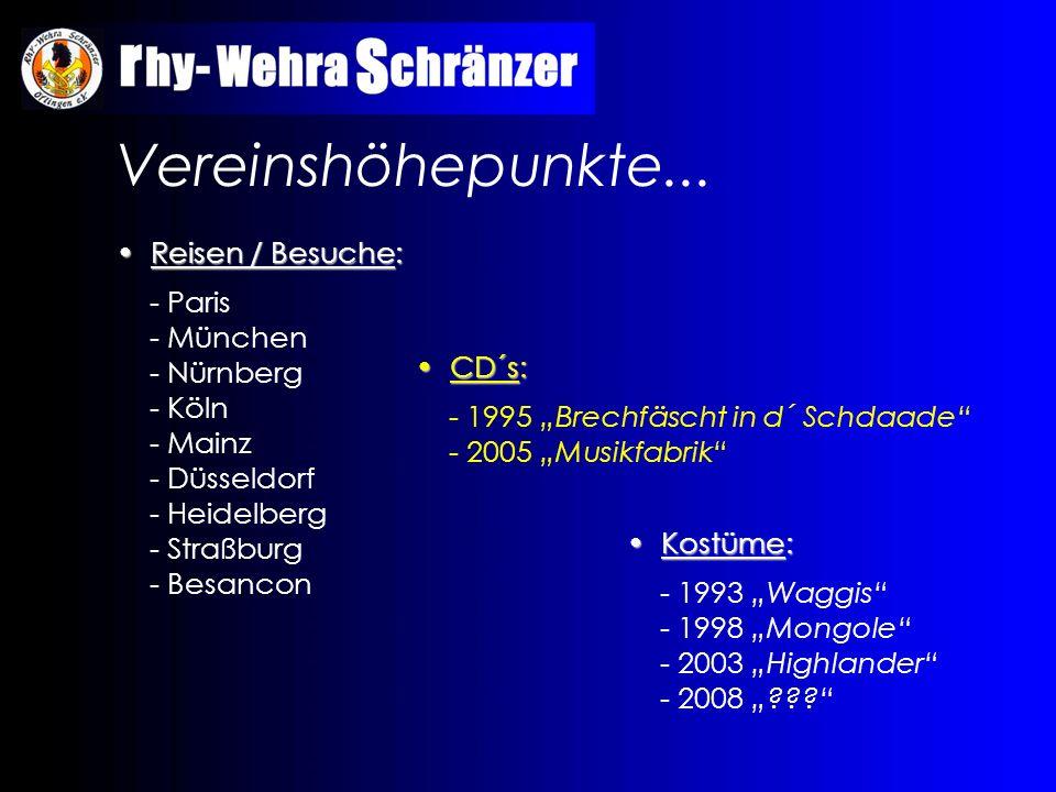 Vereinshöhepunkte... Reisen / Besuche: Reisen / Besuche: - Paris - München - Nürnberg - Köln - Mainz - Düsseldorf - Heidelberg - Straßburg - Besancon