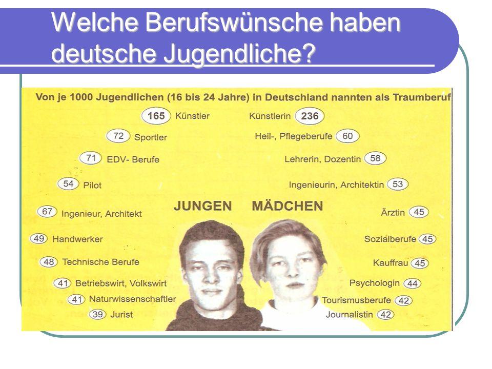 Welche Berufswünsche haben deutsche Jugendliche?