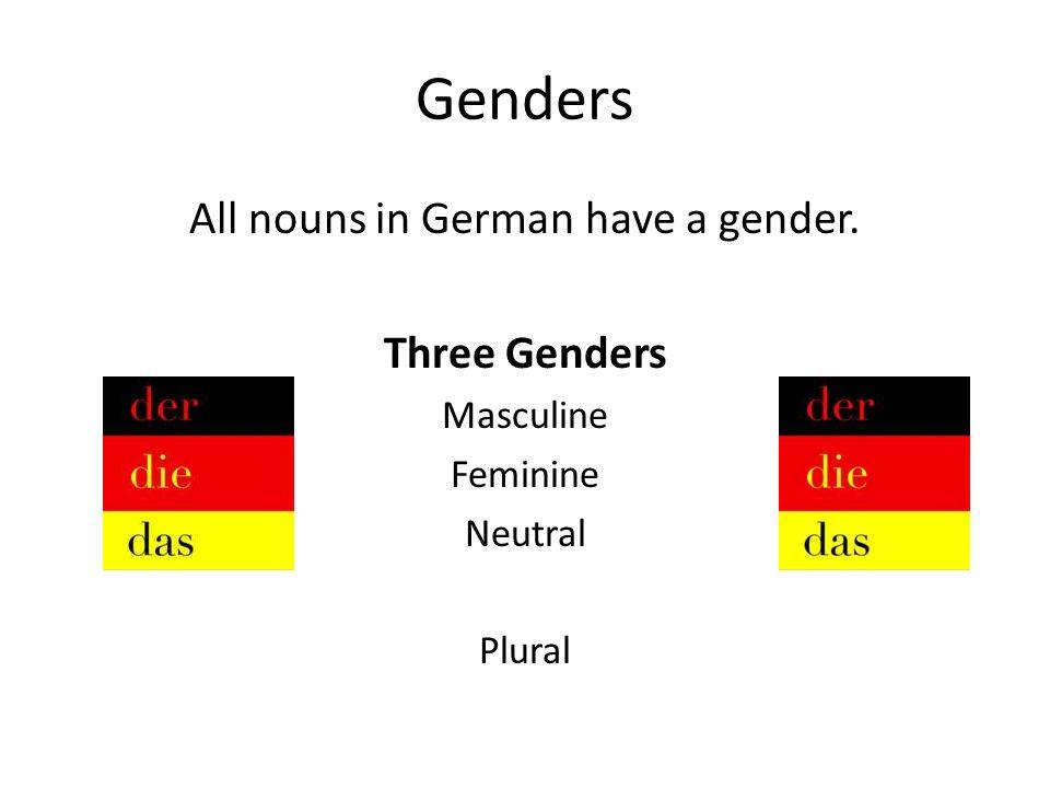 Genders All nouns in German have a gender. Three Genders Masculine Feminine Neutral Plural