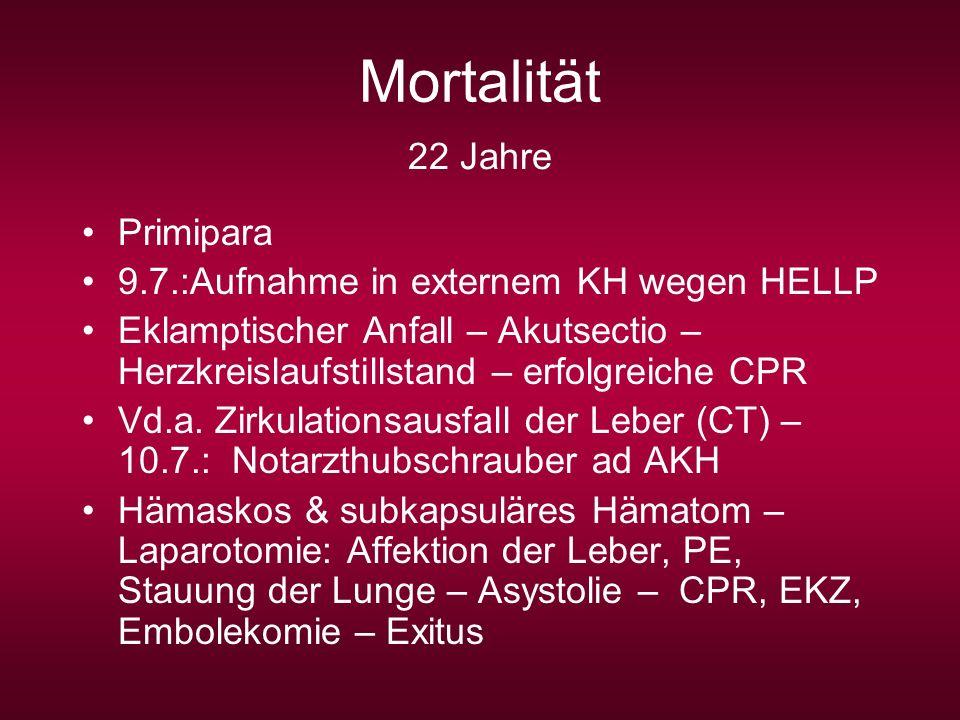 22 Jahre Primipara 9.7.:Aufnahme in externem KH wegen HELLP Eklamptischer Anfall – Akutsectio – Herzkreislaufstillstand – erfolgreiche CPR Vd.a. Zirku