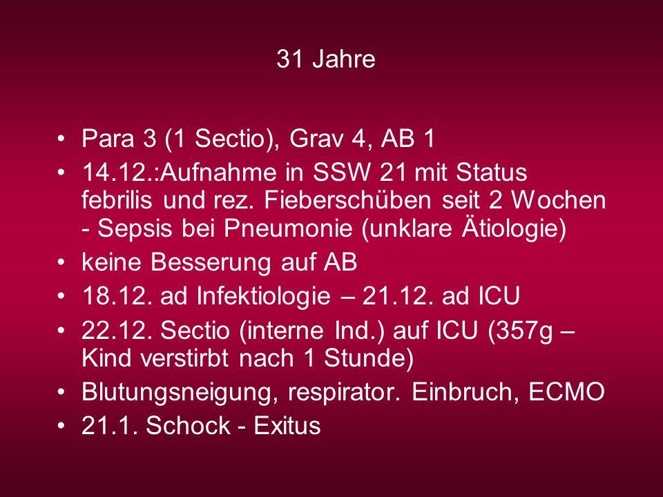 31 Jahre Para 3 (1 Sectio), Grav 4, AB 1 14.12.:Aufnahme in SSW 21 mit Status febrilis und rez. Fieberschüben seit 2 Wochen - Sepsis bei Pneumonie (un