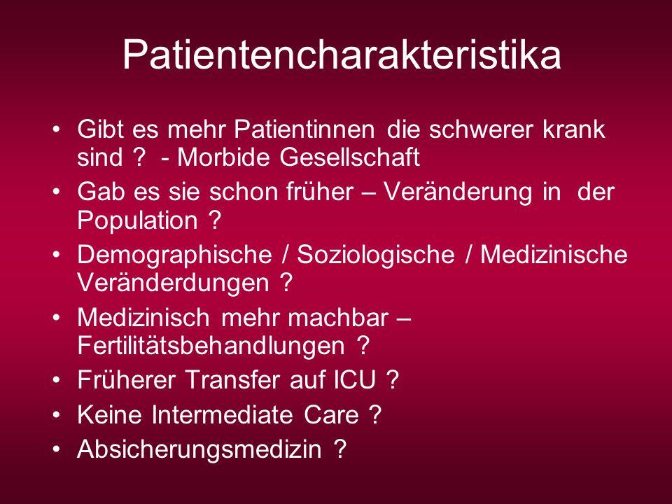 Patientencharakteristika Gibt es mehr Patientinnen die schwerer krank sind ? - Morbide Gesellschaft Gab es sie schon früher – Veränderung in der Popul