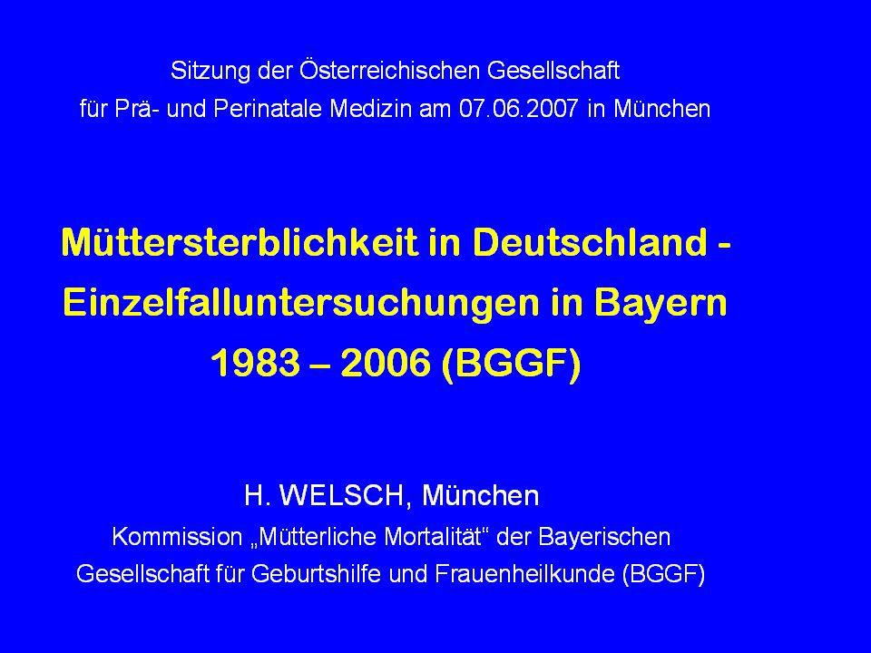 2003 – 2005: Mütterliche Sterbefälle amtliche (BQS) Mortalität Baden-Württemberg 17 13 Bayern 9 28 Berlin8 3 Brandenburg5 6 Bremen1 0 Hamburg2 0 Hessen1 8 Mecklenburg-Vorpommern2 1 Niedersachsen 10 7 Nordrhein-Westfalen 25 4 Rheinland-Pfalz2 8 Saarland2 0 Sachsen9 6 Sachsen-Anhalt3 2 Schleswig-Holstein1 0 Thüringen4 6.