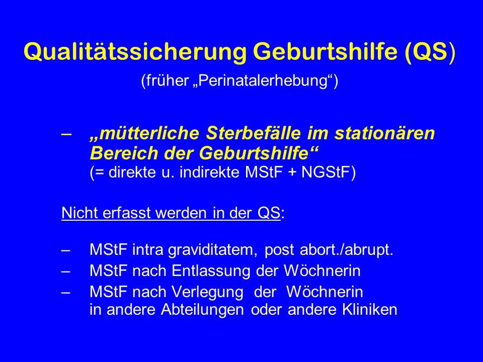 Qualitätssicherung Geburtshilfe (QS ) (früher Perinatalerhebung) –mütterliche Sterbefälle im stationären Bereich der Geburtshilfe (= direkte u. indire