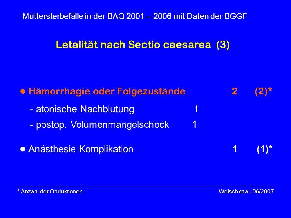 * Anzahl der Obduktionen Welsch et al. 06/2007 Müttersterbefälle in der BAQ 2001 – 2006 mit Daten der BGGF Hämorrhagie oder Folgezustände 2 (2)* - ato