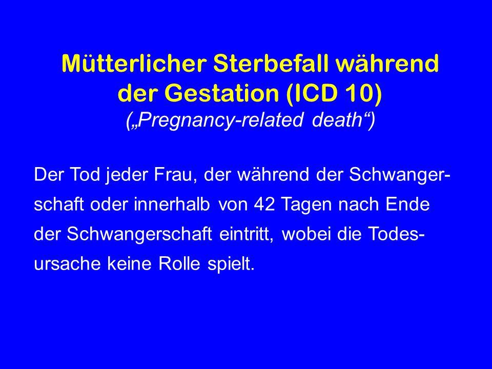 Todesursachen bei direkten Müttersterbefällen in Bayern 1983 – 2006 (BGGF); output table EAPM (1996) 1983-1988 BGGF 1989-1994 BGGF 1995-2000 BGGF 2001-2006 BGGF Embolie 24132014 davon Fruchtwasserembolie 6 3 9 5 Haemorrhagie 1610 8 7 Genitaltrakt Sepsis 12 7 5 0 Hypertensive Erkrankung 10 8 4 7 Anaesthesie-Komplikation 4 3 1 1 Abort / Abruptio 8 0 3 4 Extrauteringravidität 4 20 2 Sonstige 1 10 0 Total79444135 Direkte Müttersterblichkeit pro 100.000 Lebendgeborene 11,35,55,45,3