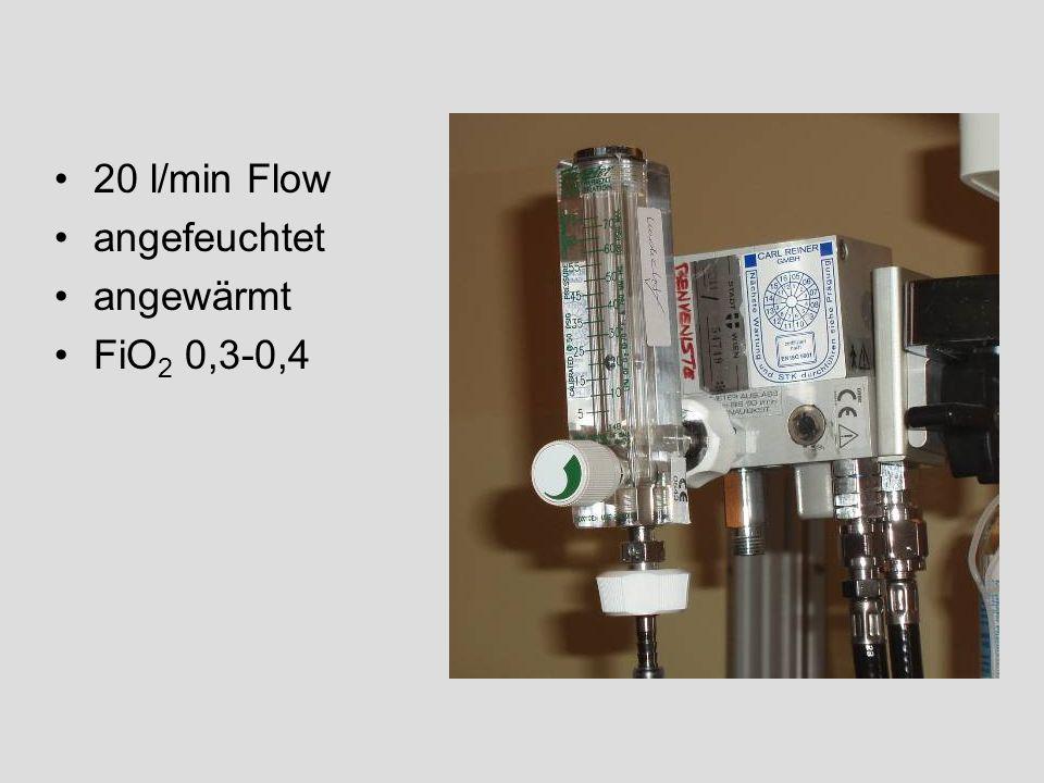 20 l/min Flow angefeuchtet angewärmt FiO 2 0,3-0,4