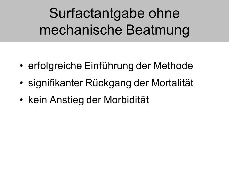 Surfactantgabe ohne mechanische Beatmung erfolgreiche Einführung der Methode signifikanter Rückgang der Mortalität kein Anstieg der Morbidität