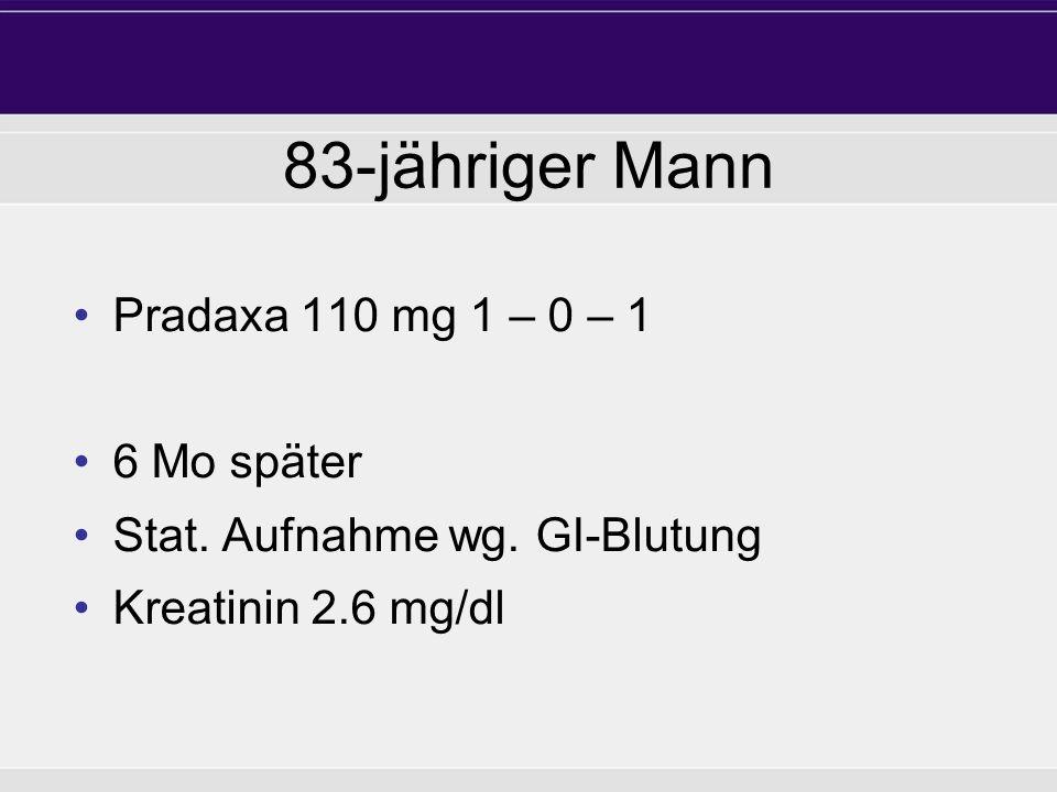83-jähriger Mann Pradaxa 110 mg 1 – 0 – 1 6 Mo später Stat. Aufnahme wg. GI-Blutung Kreatinin 2.6 mg/dl
