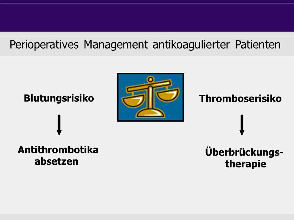 Thromboserisiko Blutungsrisiko Perioperatives Management antikoagulierter Patienten Antithrombotika absetzen Überbrückungs- therapie