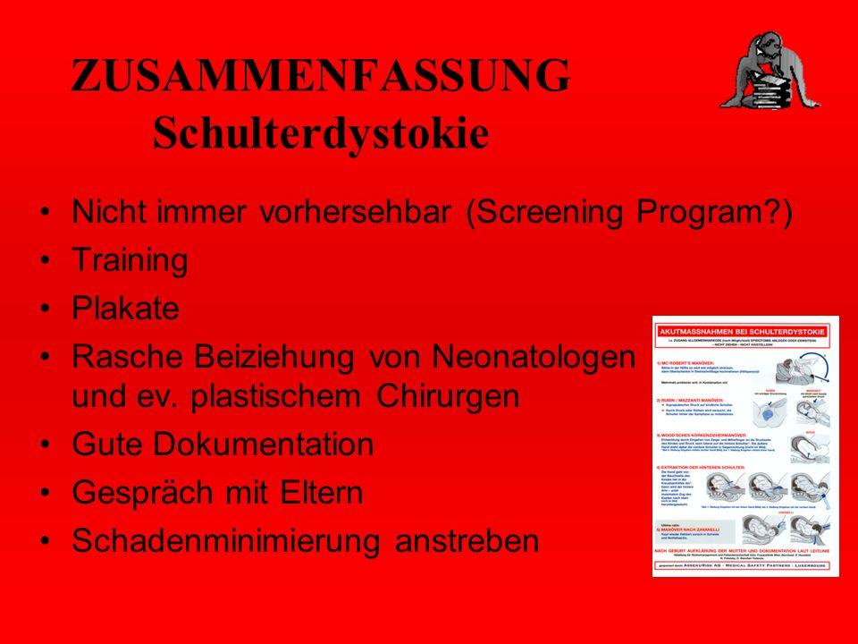 ZUSAMMENFASSUNG Schulterdystokie Nicht immer vorhersehbar (Screening Program?) Training Plakate Rasche Beiziehung von Neonatologen und ev. plastischem