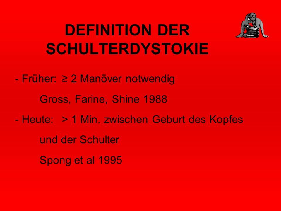 DEFINITION DER SCHULTERDYSTOKIE - Früher: 2 Manöver notwendig Gross, Farine, Shine 1988 - Heute: > 1 Min. zwischen Geburt des Kopfes und der Schulter